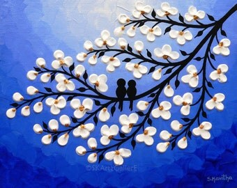 Love birds Art Nightscape Bllue Wall Art Giclee Print of Original Love birds painting Blue night sky print Birds on tree art Nursery wall