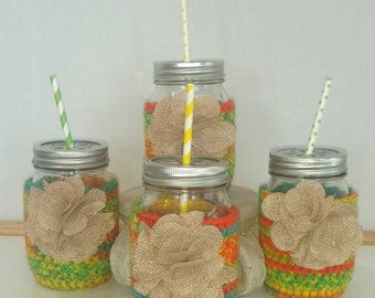 Boho, Mason Jar, crocheted drink cozy, or candy jar, or flower vase