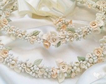 Stefana Greek Wedding Crowns Bohemian Style Floral Wearth Porcelain Roses Orthodox Stephana /Tiaras / Stefana