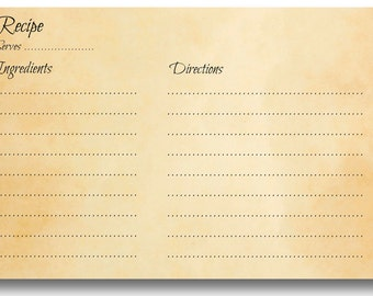 Instant Download and Printable Recipe Card