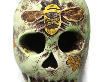 Ceramic Sculpture Sugar Skull: The Bee