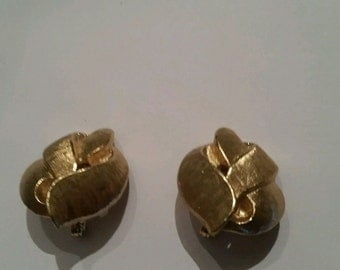 Vintage Monet Earrings Gold Costume Jewelry