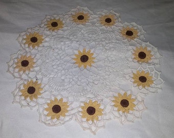 Black Eyed Susan Crocheted Doily