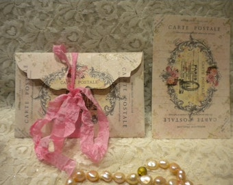 Shabby Vintage Paris Envelope With 6 Note Cards