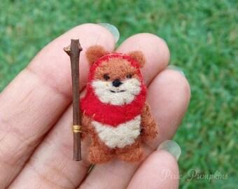 Miniature Felt Ewok, Ewok Miniature Plush, Tiny Felt Ewok, Felted Miniature Ewok, Handmade Ewok Red Hood, Tiny Ewok, Star Wars Plush Toy
