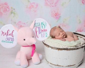 Elephant birth announcement stuffed animal