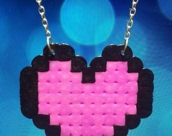 8bit pink heart necklace