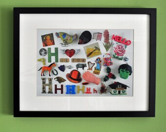 Limited Edition Alphabet Collage Print With Mount: H Is For...  Original, Vintage-Themed, Unframed