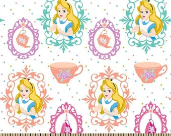 Alice in Wonderland, Tea Party on White Cotton Fabric