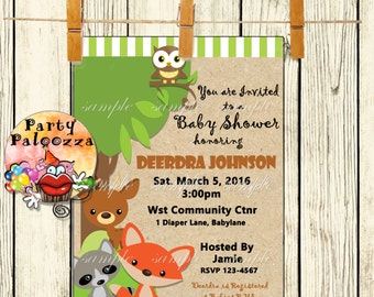 Printable Woodland Creatures Baby Shower invitation