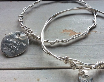 Love You Mum Personalised Fine Silver Charm Twisted Bangle Set