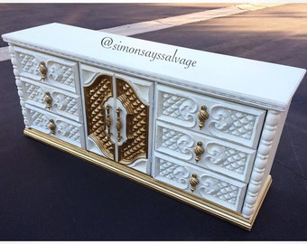 White & Gold Regency Dresser, Tv Stand, Credenza, Changing Table