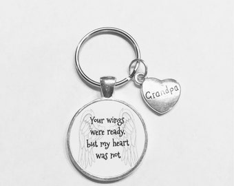Guardian Angel Grandpa Your Wings Were Ready But My Heart Was Not In Memory Memorial Keychain