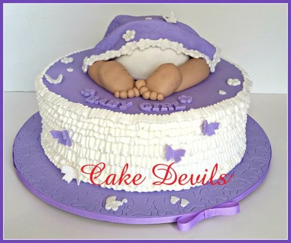 Baby Shower Cakes Decorations ~ Baby butt cake topper with blanket butterflies and words baby