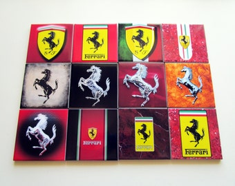Set of 4 Ferrari Drink Coasters Ceramic Tiles *** Choose between 12 different images *** High Quality from Italy Scuderia F1 Logo Horse