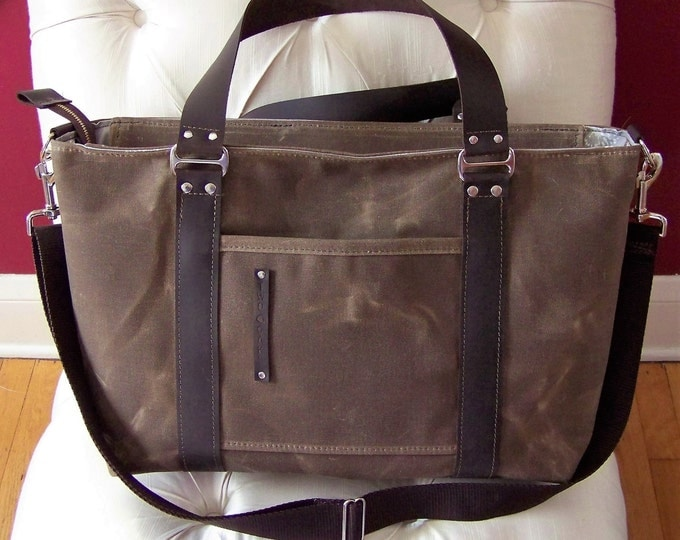 Animal Print Interior / Waxed Canvas Diaper Bag with Leather