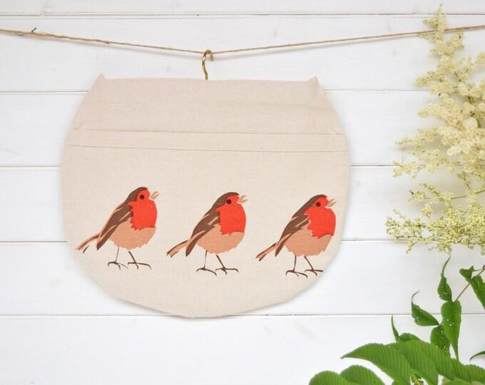 Robins peg bag in organic cotton. Clothes pin bag.