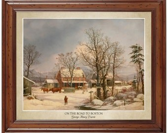 On The Road to Boston by George Henry Durrie (1861); 16x20 print displaying the artist's name and title of painting