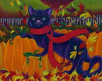 Fine Art Print Black Cat Halloween Pumpkin Fall Artwork 8X10 Print