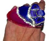 Pink agate-purple agate-druzy quartz in purple -handring- hand ring