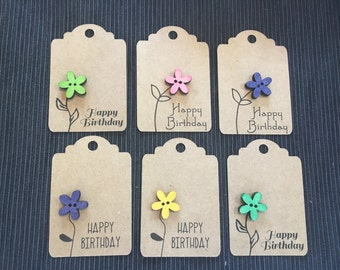 Hand crafted gift tags, gift tags with button, birthday tags, wooden bflower button tags