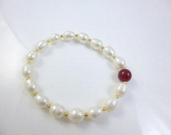 Ruby and Pearl Bracelet, Beaded Bracelet,  Ruby Bracelet, Freshwater Pearl Bracelet, Stretch Pearl Bracelet