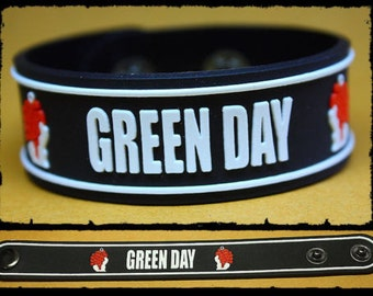 MIP-GREEN DAY-American Idiot logo Rubber wristband with adjustable snaps