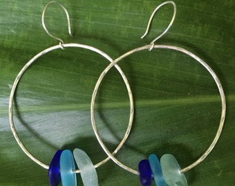 Blue SeaGlass Ombré Earrings Sterling Silver