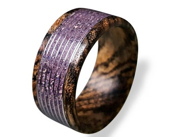 Bocote Wood Ring with Amethyst Inlay, Amethyst Ring, Threaded Pattern Ring