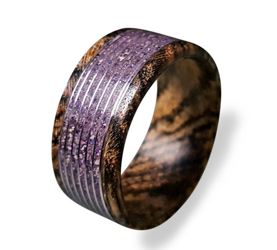 Crushed Amethyst Inlay : Bocote wood ring with amethyst inlay threaded