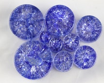 Stretching Blue Shattered Glass Plugs - Ear Plugs - one pair - Ear Plug carved from shattered glass - glass stone plugs 6mm - 25mm - PB06
