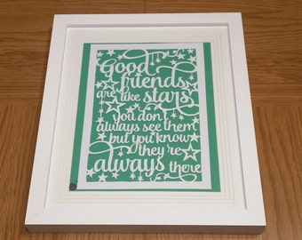 Good Friends paper-cut frame
