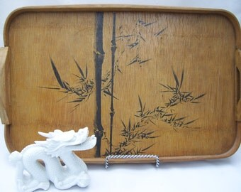 Wood Asian Tray with Black Bamboo in Shabby Chic Condition,Handles, Made in Japan