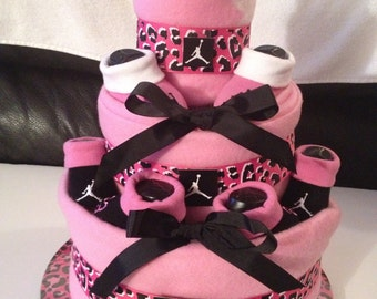 3 tier Jordan themed Diaper Cake Centerpiece