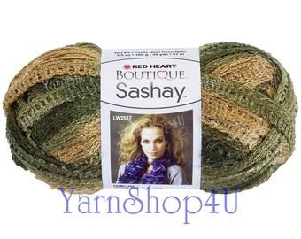 Sale! CONGA Boutique Sashay Yarn Red Heart Frilly Camo yarn, Army, Congo, Ruffle yarn Ribbon yarn scarf yarn crochet Rumba, Fluffy Scarf