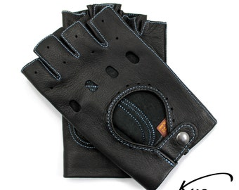 Black fingerless leather gloves, driving gloves, cycling gloves - sewn with color thread - Italian lambskin leather