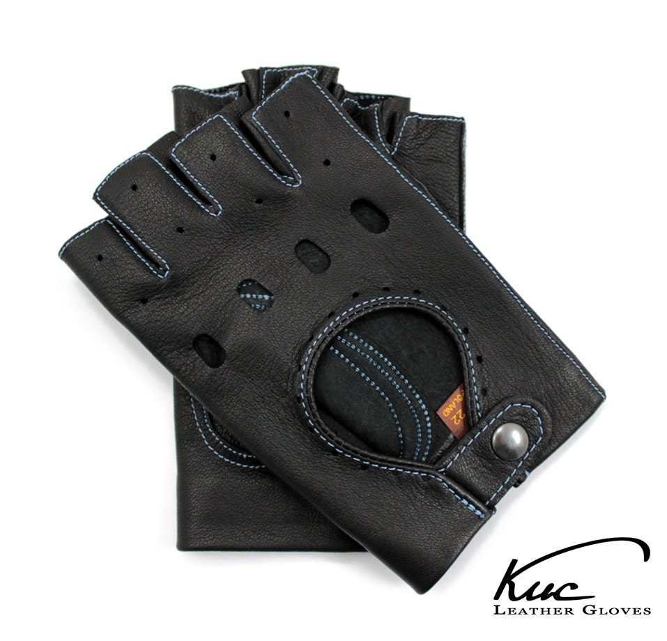 Mens leather driving gloves australia - Black Fingerless Leather Gloves Driving Gloves Cycling Gloves Sewn With Color Thread Italian Lambskin Leather