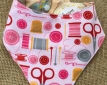 Sewing bib, Embroidery Bib, Pink Bib, Bibdana, drool bib, art nursery, sewing mom, handkerchief bib, hoop art baby, craft baby shower