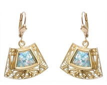 SALE HOLIDAYS 5776 Trapezoid Shaped Earrings with Roman Glass in 14k Gold