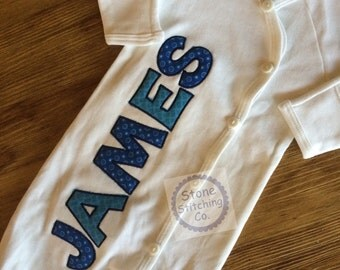 Personalized baby gown, newborn gown, boy baby gown