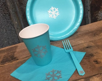 Teal and Silver Glitter Snowflake Party Tableware, Plates, Cups, Napkins, Forks, Silver and Teal, Winter Wonderland, Frozen, Snowflake Party