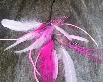 Boho chic Ibiza festival feather hair extention clip Hair jewelry for the gypsy hippie woman shades of pink