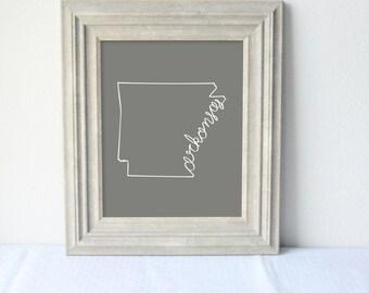 Printable Arkansas State Art Print 8x10 Digital Wall Art Gift