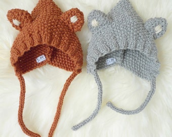 GASPARD Le Petit Fox and LOULOU the little Wolf - crush in wool - knit - Cap size from birth to 36 months