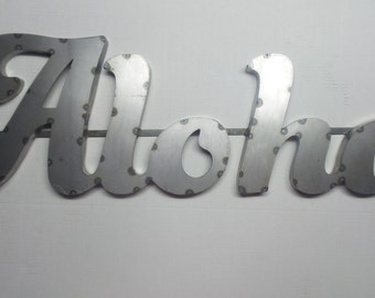 Aloha metal art sign vintage industrial 3D