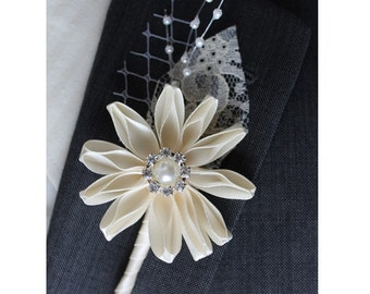 Ivory Wedding Boutonniere Grooms Boutonniere Groomsman Boutonniere  Wedding Boutonniere Satin Boutonniere  Ivory Boutonniere
