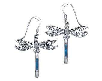 Silver Dragonfly and Gem Earrings