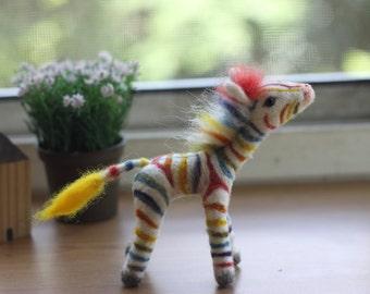 Needle felted Rainbow Zebra .Natural dye  One-of-a-kind OOAK