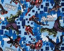 Avengers fabric.  100% Premium cotton.  Blue, yellow, red, green  Quilting cotton.   Superhero, Captain America, Spiderman, Hulk, character,