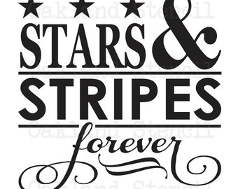 """Patriotic STENCIL *Stars & Stripes Forever* 12""""x12"""" for Painting Signs, Memorial Day, 4th of July, Airbrush, Crafts, Wall Art"""